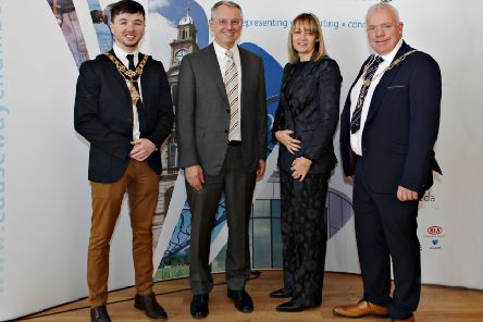 Causeway Chamber President David Boyd (right) welcomes guests to the President's Business lunch at the Royal Court Hotel in Portrush with (from left) Causeway Coast and Glens Council Mayor Cllr Sean Bateson, Kevin Holland CEO of Invest NI along with Chamber CEO Karen Yates