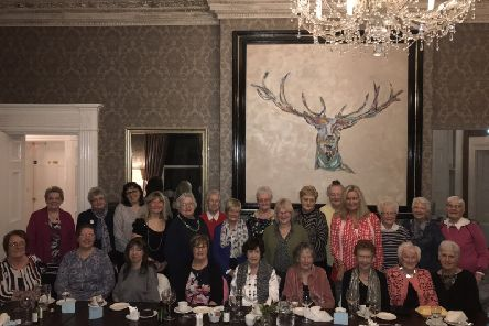 Jo-Anne Dobson, Kidney Care UK Northern Ireland Ambassador with the members of Loughbrickland Women's Institute at their President's Night held in the Belmont Hotel.