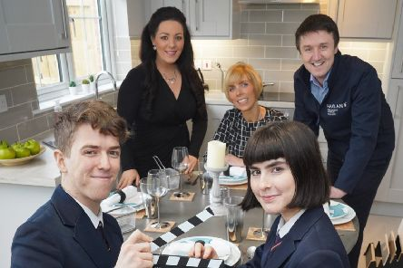 Front Row L-R James McVeigh (17) and Matilda Reid (16). Back Row L-R Marcella Walsh, Arts & Business Northern Ireland, Laura McCurdy, Cinemagic and Jim Burke, Hagan Homes launching 'Home', a new film project delivered by Cinemagic for 16-18 yr olds supported by Hagan Homes and Arts & Business Northern Ireland. Photo by Aaron McCracken