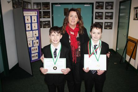 Charlie Lennon and Tom McSherry pictured with Anne AndersonNew-Bridge Principal.