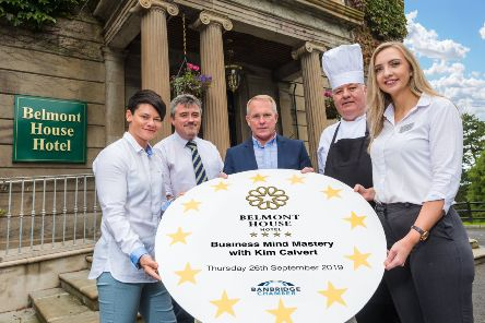 Kim Calvert, high-performance mentor and world-leading motivational speaker is pictured alongside Joe Quail, Banbridge Chamber of Commerce, Walter Russell, owner of the Belmont House Hotel, Frank Lennon, Executive Chef and Julie-Ann Smart, Manageress