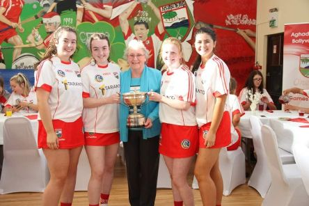 Past pupil Rachel with her cousins, Andrea Fletcher, past pupil Sarah Malone (LLB McGee) and Laura Fletcher are pictured with grandmother, Mrs Maureen Lennon