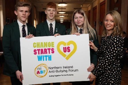 New Bridge Integrated College students at the Anti-Bullying Forum - l-r) Matthew McClure, Kyle Martin and Nicki Browne from New-Bridge Integrated College, Loughbrickland, Banbridge with Gill Hassard, Senior Participation Officer at NCB, host of Northern Ireland Anti-Bullying Forum (NIABF).