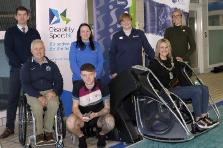 Launch of Poolpod swimming pool lift for people with reduced mobility. Lord Mayor, Cllr Mealla Campbell, Aubrey Bingham (Community Sport Manager, Disability Sport NI), Jayne Moore (Sport NI), Aisling Irvine (Disability Sport NI), Stephen Anderson (Recreation Officer), Daniel Moore (Lifeguard) and Claire Weir (Armagh City, Banbridge & Craigavon Borough Council). �Edward Byrne Photography