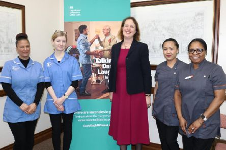Banbury MP Victoria Prentis with social care workers at the launch of the national campaign