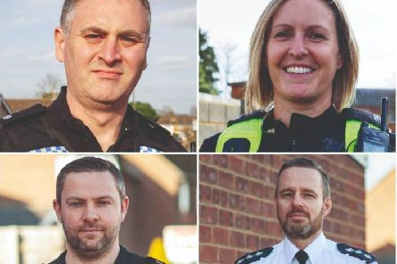 PC Matthew Huard, PC Victoria Justice, Sgt Andy Fiddler and Chief Inspector Henry Parsons, who have all been handed a bravery award for saving a girl on a bridge over the M40. Photo: Thames Valley Police Federation