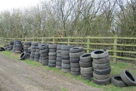 The tyres fly-tipped near Fritwell. Photo: Cherwell District Council