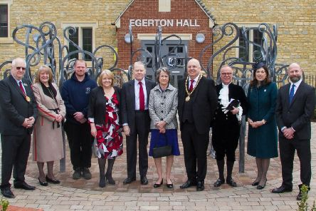 The Duke and Duchess of Sutherland, The High Sheriff of Northamptonshire and others outside the new Egerton Hall in Brackley. Courtesy Brackley Photographic NNL-190304-173114001