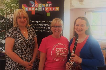 (L-R) Helen Fountain of Age UK Oxfordshire, Gayle Williams of Oxford Hospitals Charity, and Kate Wilkinson at the Dementia Action Week concert at the Horton General Hospital. Photo: OUH