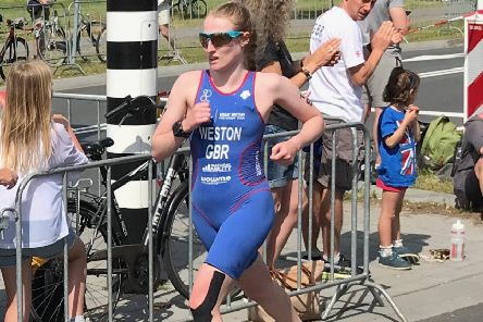 Rosie Weston on her way to winning a silver medal in Holland