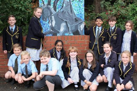 Some of the artists from St Johns Priory with their entry for the Ride-a-cock-horse category of Banbury's Biggest Art Competition. NNL-190907-123946001