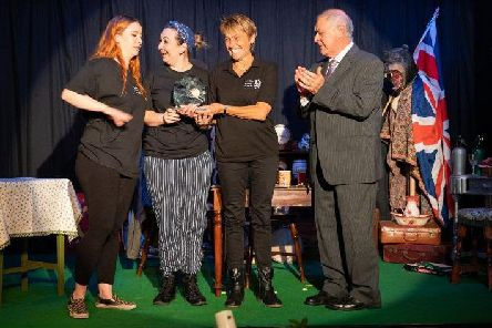 Actors Nicola Dixon (The Manager), Almira Brion (Emma), director Chrissie Garrett, and adjudicator Mike Kaiser, GoDA. (courtesy Peter Weston)