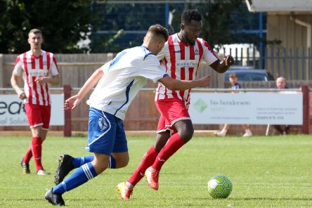 New signing Elikem Amenku in action for Easington Sports against Virginia Water at Addison Road