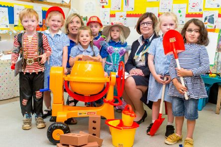 Children  from Bloxham Pre-school with their new toys