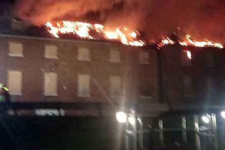 The building ablaze