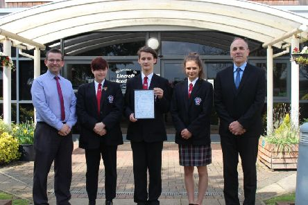 Left to right; Paul Wildman from Lincroft Academy, students Lorelei, Connor and Cerys, and Mark Duke from Lincroft Academy.