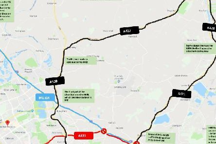 Diversion routes for when the A421 closes