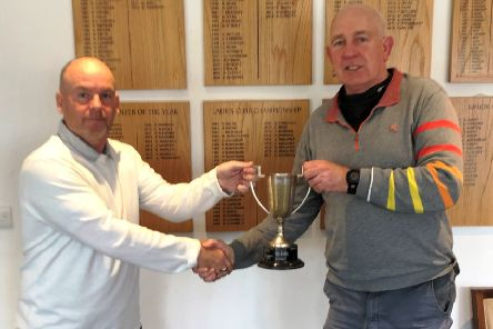 From left, Mick Whelan presents Paul Williams with the Bryn Aldridge Charity Trophy at Little Hay GC.