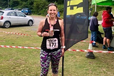 Gade Valley Harrier Susie Ivin in the Shropshire Hills after completing her 31st marathon at the weekend.