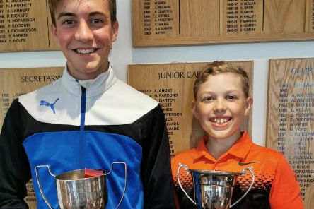 From left, Little Hay Golf Club's now two-time  Junior Club Champion Harry Miller and Thomas Ashton, who won the Junior Cup after recording the best net score.