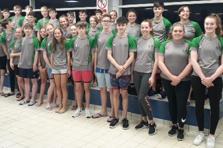 The Berkhamsted Swimming Club team lines up before the Arena League meet in Enfield the previous weekend.