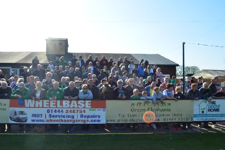 Burgess Hill Town fans at the Green Elephants Stadium