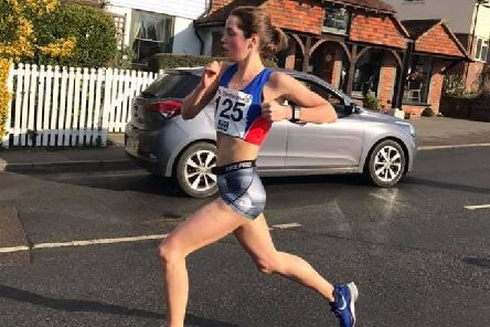 Lizzie Clarke on her way to breaking the ladies' course record in the Tenterden 5 Mile race. Picture courtesy Sam Ralph