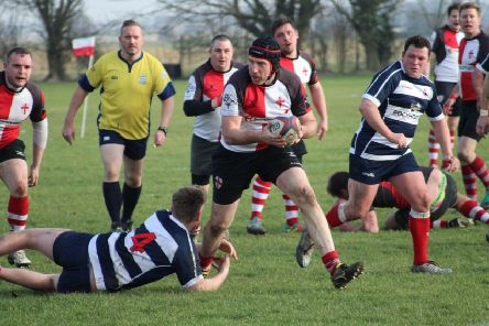 Dave 'Big Smudge' Smith marauding through the Crowborough defence during Rye Rugby Club's 81-24 victory. Picture courtesy Tom Pierce