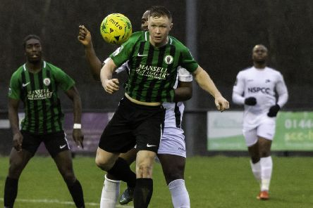 Ben Pope in action for Burgess Hill Town last season. Picture courtesy Chris Neal