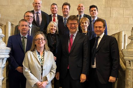 Pictured are in the back row: Cllr Keith Glazier, David Candlin, Cllr. Andy Batsford, Cllr Paul Osborne, Huw Merriman MP. Second row: Jon Wheeler, Cllr Kathryn Field, Cllr Catherine Rankin. Front row: Cllr Nicolas Heslop, Sally-Ann Hart MP, Greg Clark MP, Tom Tugendhat MP SUS-201102-123746001