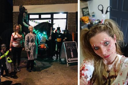 In the left image are: Joshua and Elliott Newman Hutchison, Kymberly, Lorraine Titmus, the horseman, and the three witches of Eastwick. Right: Kymberly as a zombie.