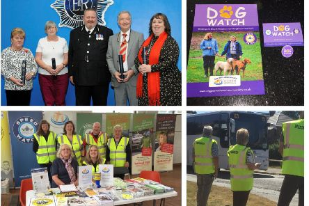 Clockwise from top left: awards; Dog Watch; Speed Watch; community engagement.