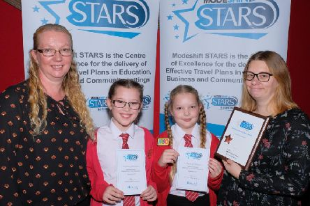 L to R: Laura Statham, PA, Robert Peel School, students and Kirstie Stevenson, Teaching and Learning Practitioner at Robert Peel School