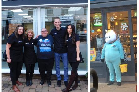 Left: Nicola with the salon staff members. Right: dressed as a unicorn.