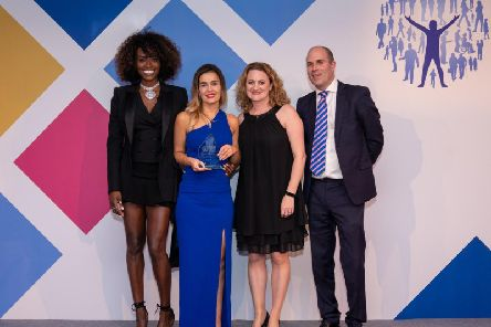 Emma Cox (second from left), with (from left) TV chef and emotional wellness advocate Lorraine Pascale; Councillor Louise McKinlay, Cabinet Member for Children and Families at award sponsor Essex County Council; and James Rook, Chief Executive of Headline Sponsor Sanctuary Personnel