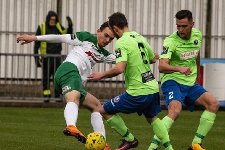 Dan Smith on the attack for Bognor against Dorking / Picture by Tommy McMillan