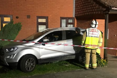 Car collides into Bognor Regis house, photo by Eddie Mitchell