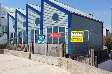 The beach huts at they appear now