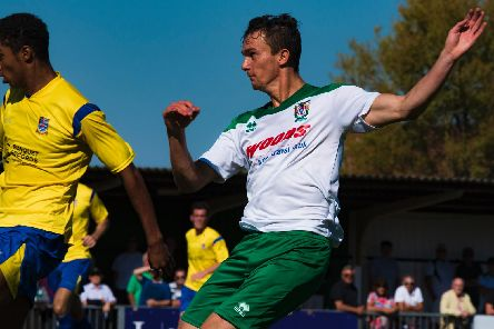 Dan Smith in Bognor action v Kingstonian last season / Picture by Tommy McMillan
