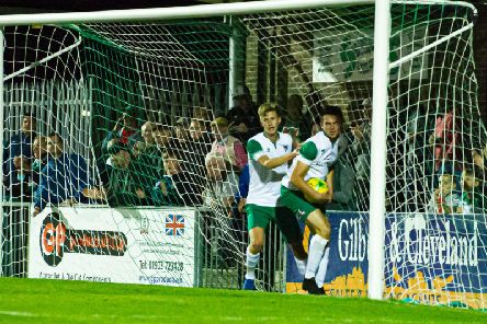Tommy Leigh and Dan Smith retrieve the ball from the net after Leigh's goal makes it 2-1 v Cheshunt / Picture by Tommy McMillan
