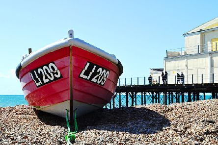 A boat on the beach in Bognor