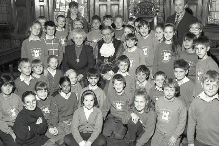 Here we turn back the clock 25 years to find pupils from Boston's Tower Road School in the council chamber at the Municipal Buildings where they held a debate with the Mayor and Mayoress, Coun Keith and Joyce Dobson.