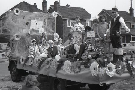 St Christopher's float for the Rag Weekend of 1964. Titled Parade of the Pops, 15 members of the club dressed up to symbolise their favourite pop stars ' Freddy and the Dreamers, Heinz, Johnny Kidd and the Pirates, and the Rolling Stones.