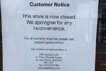 Notice on the Chichester store's window