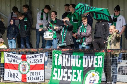 Burgess Hill Town supporters at their home game with Brightlingsea Regent. Picture by Chris Neal.