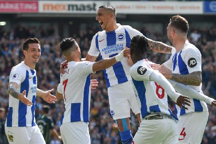 Brighton celebrate a goal last season. Picture by PW Sporting Photography