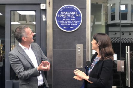 A blue plaque for Margaret Bondfield, the country's first female cabinet minister. Unveiled by Peter Kyle, Hove MP and Rachel Reeves, fellow Labour MP
