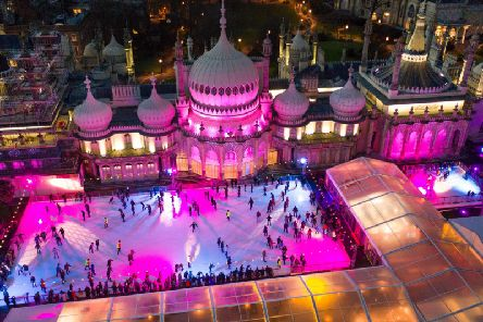 Skaters at the ice rink in the grounds of the Royal Pavilion. Photograph: David Levene