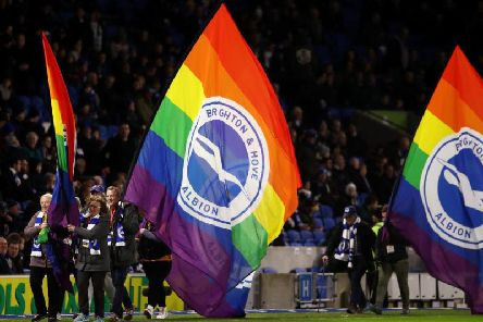 Brighton and hove Albion joined the nationwide campaign last weekend to combat homophobia in football