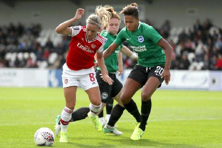 Victoria Williams of Brighton puts pressure on Jordan Nobbs of Arsenal during the Women's Super League match at Meadow Park last September